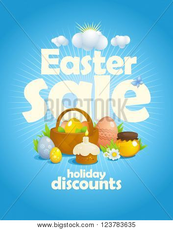 Easter sale design with rays of light and still life with basket and colored eggs, pastry, honey and flowers against blue sky backdrop