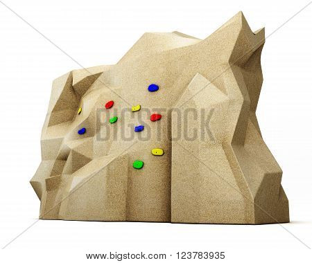 Climbing wall isolated on white background. 3d render image.