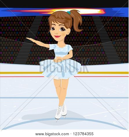 Figure skating competitions among fans. Teenager girl in skate suit dancing on the ice rink