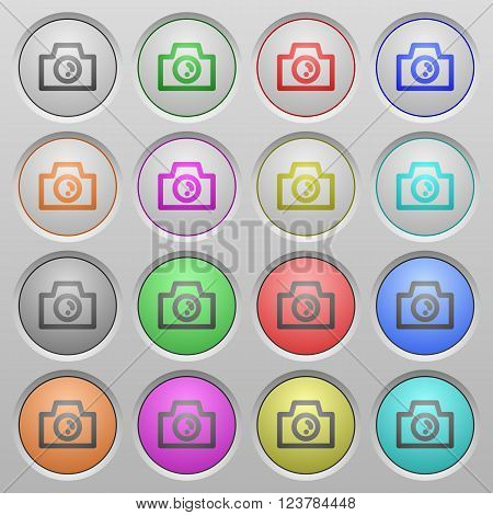 Set of camera plastic sunk spherical buttons.