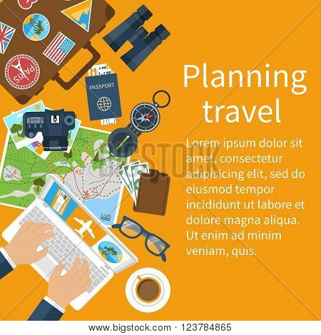 Travel planning. Vector illustration in flat design style. Vacation trip holiday concept. Banner travel.