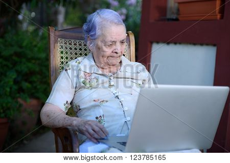 Grandma Using A Laptop