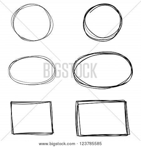 Vector set of hand drawn square frames. Sketch elements for your design.