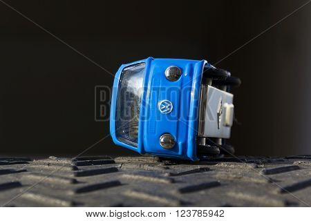 PRAGUE CZECH REPUBLIC - MARCH 23: Illustrative photo of Volkswagen toy car for diesel engine emission scandal on March 23 2016 in Prague Czech republic.