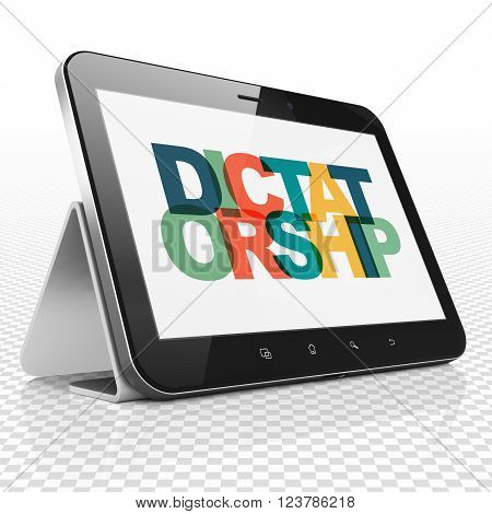 Political concept: Tablet Computer with Dictatorship on  display