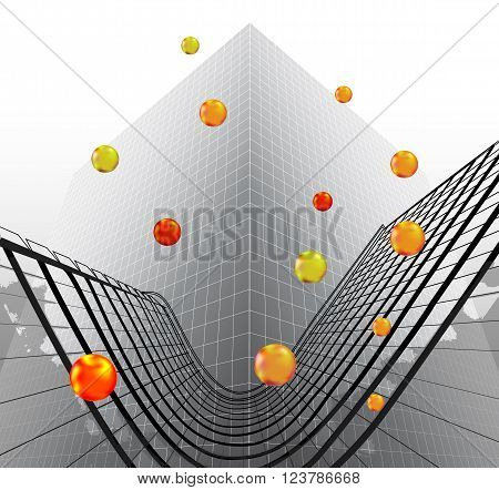 Abstract futuristic object reminiscent of modern building with glowing balls - 3D