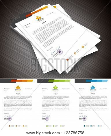 This is simple and creative letterhead for business and personal purpose usages. Well organized and layered. Easy to edit. Vector illustration.