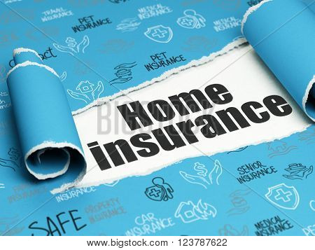 Insurance concept: black text Home Insurance under the piece of  torn paper