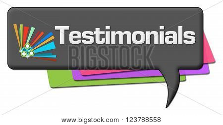 Testimonials text over dark comment symbol with colorful element.