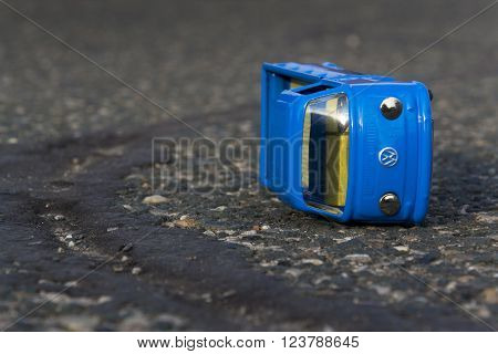 Prague, Czech Republic - March 23: Illustrative Photo Of Volkswagen Toy Car For Diesel Engine Emissi