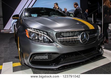 NEW YORK - March 23: A Mercedes AMG C 63 Coupe Edition 1 at the 2016 New York International Auto Show during Press day,  public show is running from March 25th through April 3, 2016 in New York, NY.