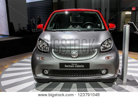 NEW YORK - March 23: A Mercedes Smart Fortwo exhibit at the 2016 New York International Auto Show during Press day,  public show is running from March 25th through April 3, 2016 in New York, NY.