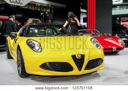 NEW YORK - March 23: A Alfa Romeo 4C exhibit at the 2016 New York International Auto Show during Press day,  public show is running from March 25th through April 3, 2016 in New York, NY.