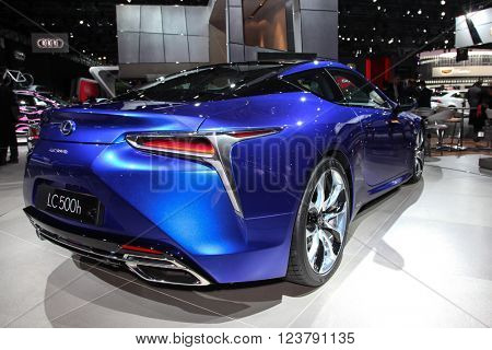 NEW YORK - March 23: A Lexus LC 500h exhibit at the 2016 New York International Auto Show during Press day,  public show is running from March 25th through April 3, 2016 in New York, NY.