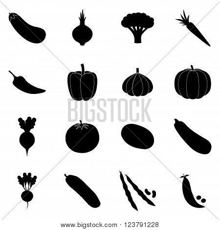 Set of black vegetable icons on white background, vector illustration