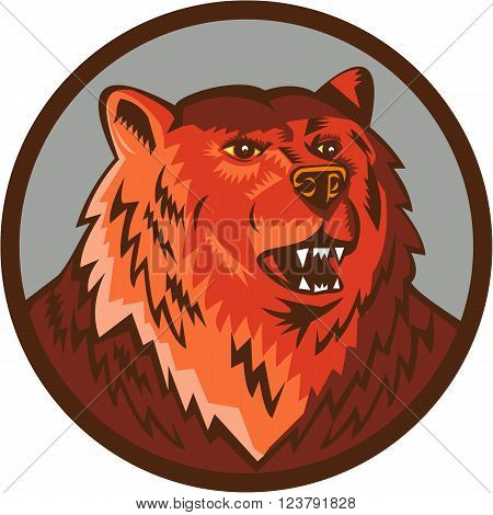 Illustration of a Russian bear or Eurasian brown bear head growling viewed from front set inside circle done in retro style.