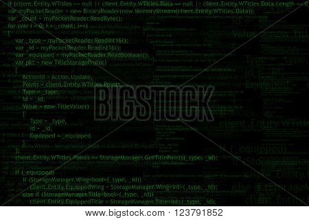 Program code background. Algorithm programming. Green on black abstract background. Vector illustration.