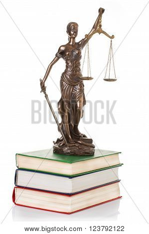 Statue of justice isolated on the white background ** Note: Shallow depth of field