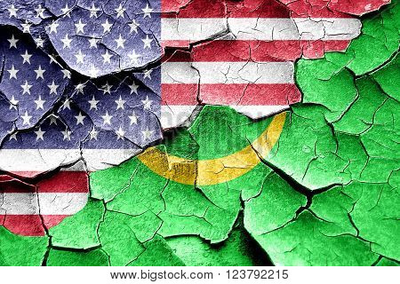 Grunge Mauritania flag combined with american flag