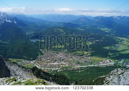 Vista from the Karwendel peak of the township Mittenwald, Bavaria, Germany from 2300 m above sea level. July, 2013.