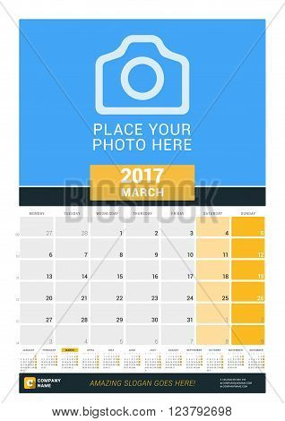 March 2017. Wall Monthly Calendar For 2017 Year. Vector Design Print Template With Place For Photo A