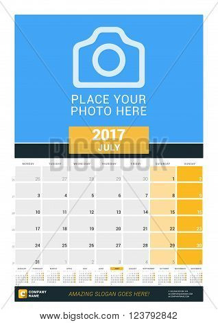 July 2017. Wall Monthly Calendar For 2017 Year. Vector Design Print Template With Place For Photo An