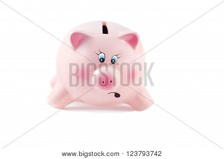 Charming Piggy Bank With Legs Apart Falls In Kizis On A White Background, Soft Focus