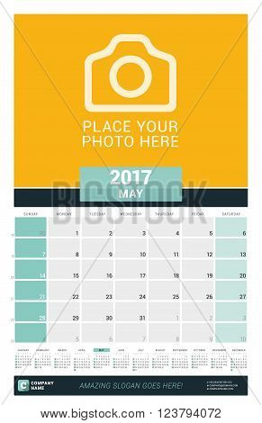 May 2017. Wall Monthly Calendar For 2017 Year. Vector Design Print Template With Place For Photo And