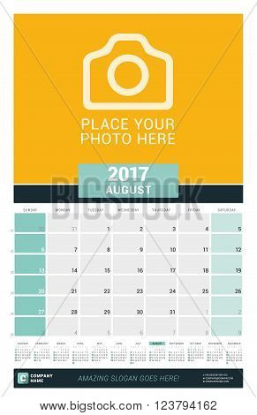 August 2017. Wall Monthly Calendar For 2017 Year. Vector Design Print Template With Place For Photo