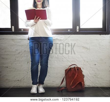 Woman Style Simplicity Backpack Reading Concept