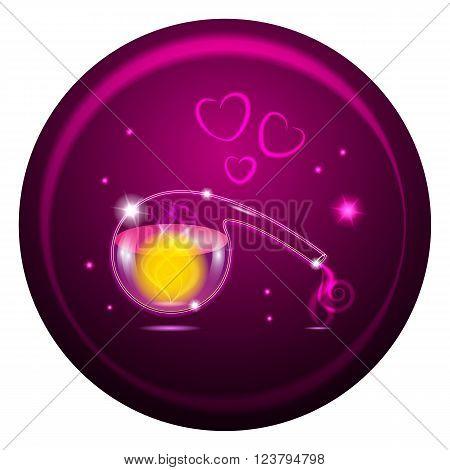 Vector illustration. Purple retort with magic potion