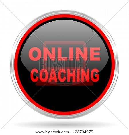 online coaching black and red metallic modern web design glossy circle icon