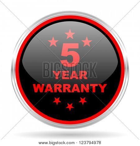 warranty guarantee 5 year black and red metallic modern web design glossy circle icon