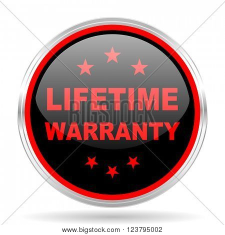 lifetime warranty black and red metallic modern web design glossy circle icon