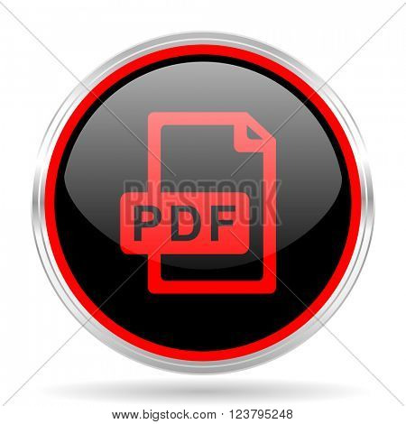 pdf file black and red metallic modern web design glossy circle icon