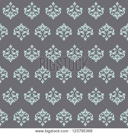 Seamless wallpaper Renaissance on a gray background. Beautiful pattern. Vector Illustration.