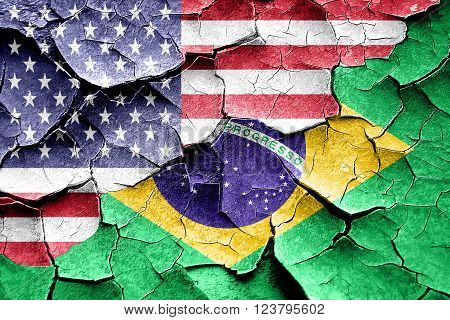Grunge Brasil flag combined with american flag