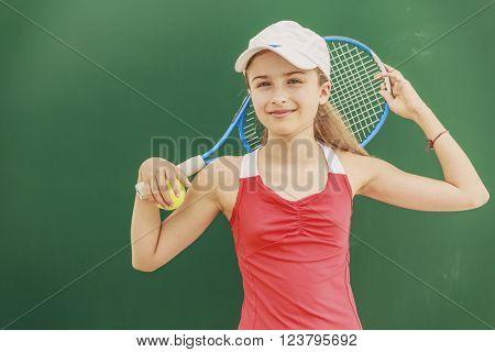 Tennis - beautiful young girl tennis player (filtered)