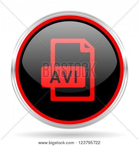 avi file black and red metallic modern web design glossy circle icon