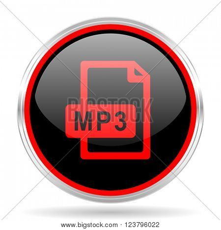 mp3 file black and red metallic modern web design glossy circle icon
