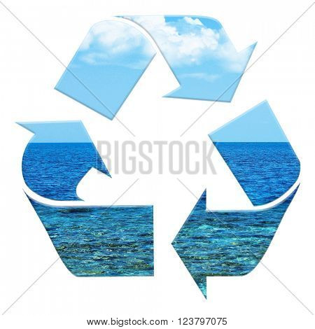 Three arrows as recycling symbol isolated on white, recycle concept