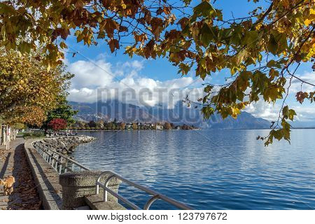 Autumn view of Embankment, Vevey, canton of Vaud, Switzerland