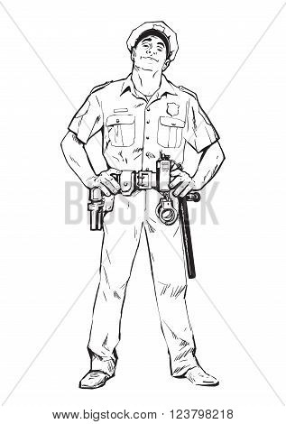 Content policeman in uniform. Blue form. Confident cop. Self-confident man in a blue uniform. The guy in the cap. Happy policeman. Strong character. Catch the criminals. illustration.