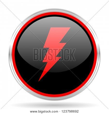 bolt black and red metallic modern web design glossy circle icon