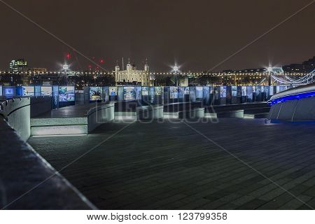 London, United Kingdom - March 23, 2016: Water Stories is an art exhibition event taking place in London near the Tower Bridge and in front of the London Tower in London, United Kingdom, on the 23rd of March 2016.