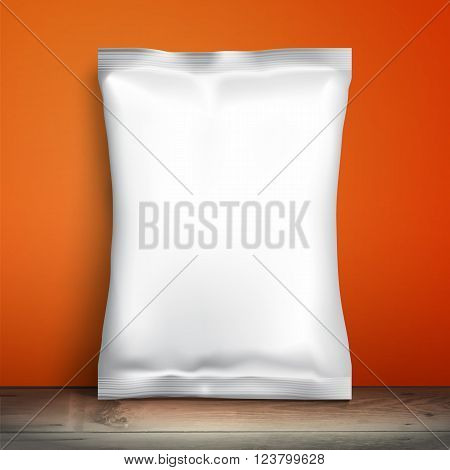 Blank white packaging. Sample package. Blank template for design. Net packaging is on shelf. Mockup Foil Food Snack pack, packaging or wrapper. Plastic Pack Template for design and branding. Red wall