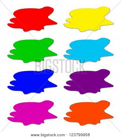 Paint Puddle, Drop, Blots, Stain, Plash. Vector Illustration Isolated On White Background.