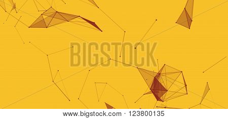 Dots and triangles background with particle, molecule structure. genetic and chemical compounds. creative vector. Space and constellations. Science and connection concept. Social network. Yellow banner
