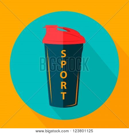 Fitness bottle in flat style. Vector icons in flat design on the theme sport.  Vector fitness icon. Flat Style Icon with Long Shadow.