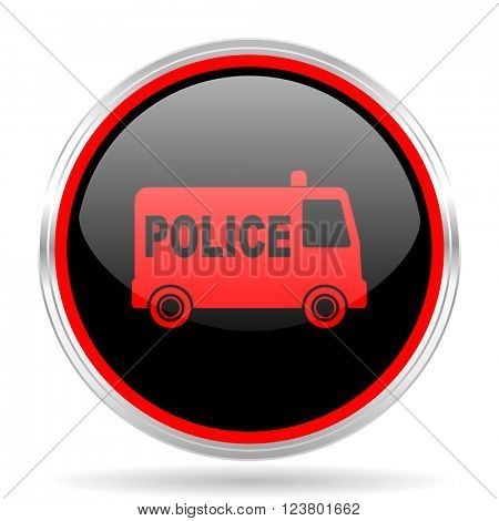 police black and red metallic modern web design glossy circle icon